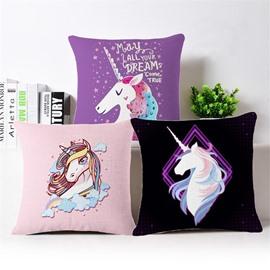 Purple Dream Unicorn Pattern Cotton Linen Blend Baby Square Throw Pillowcase