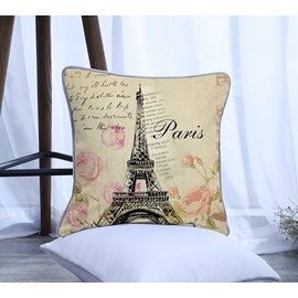 Paris Eiffel Tower Pattern Polyester One Piece Decorative Square Throw Pillowcase