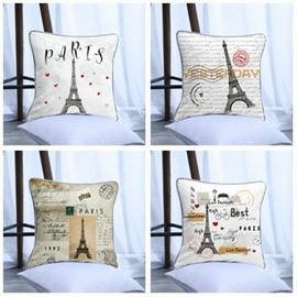 Eiffel Tower Pattern Polyester One Piece Decorative Square Throw Pillowcase
