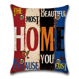 Color Block Letter Pattern Hand Wash Modern Style Pillow Case