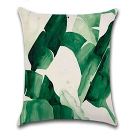 Linen Material Plant Pattern Reactive Printing Technics Indoor Occasion Pillow Case