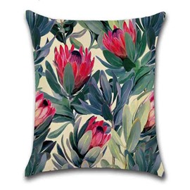 Linen Material Reactive Printing Technics Plant Pattern Pillow Case