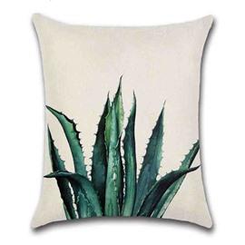 Modern Style Plant Pattern Reactive Printing Technics Linen Material Pillow Case