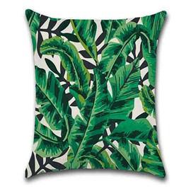 Modern Style Hand Wash Linen Material Plant Pattern Pillow Case