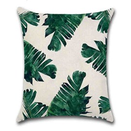 Hand Wash Reactive Printing Technics Plant Pattern Pillow Case