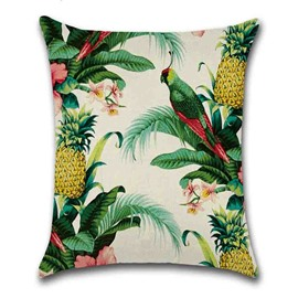 Linen Material Plant Pattern Modern Style Hand Wash Pillow Case