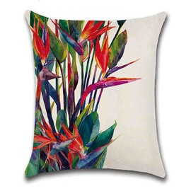 Plant Pattern Modern Style Linen Material Reactive Printing Technics Pillow Case