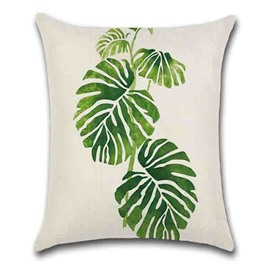 Reactive Printing Technics Plant Pattern Hand Wash Modern Style Pillow Case