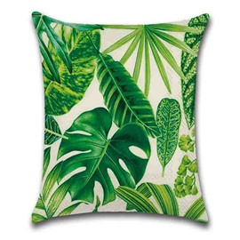 Plant Pattern Linen Material Modern Style Hand Wash Pillow Case