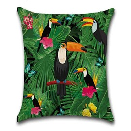 Bird Pattern Linen Material Reactive Printing Technics Pillow Case