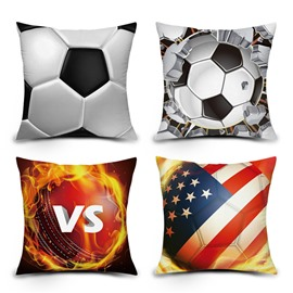 3D Soccer and Ball with Fire Digital Printing Throw Pillow Case