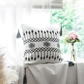 Simple Geometric Style Cotton Breathable Soft White Throw Pillowcase