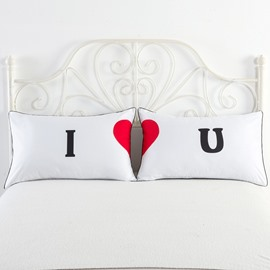 I and Red Love Pattern Simple Printed Couple Pillowcase for Valentine' Gift
