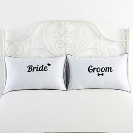 Bride and Groom Printed White Couple Pillowcase for Valentine's Gifts