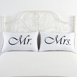 One Pair Mr. & Mrs.Printed Valentine's Gifts Couple Pillowcases