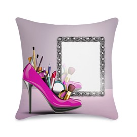 Feminine High Heels Makeup Tools 3D Printed Throw Pillowcase