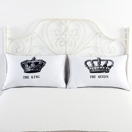 The King and The Queen Crown Printed Valentine's Gift Couple Pillowcase