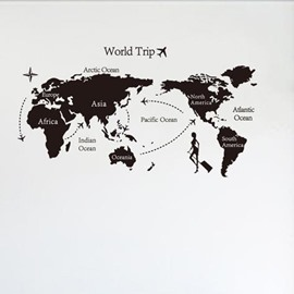 Black Simple Style Cool World Trip Map Print Wall Stickers