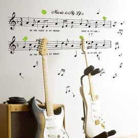 Lovely Musical Notes and Letters Print Wall Stickers