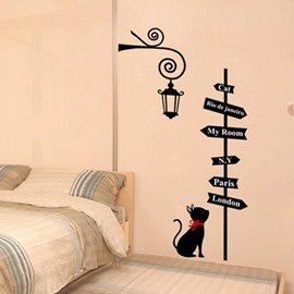New Arrival Lovely Fashion Cat and Direction Board Print Wall Stickers