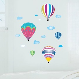 Cartoon Hot-air Balloons Pattern Removable Wall Stickers