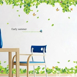 New Arrival Beautiful Green Leaves and Butterflies Print Wall Stickers