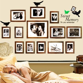 Golden Photo Frames 13-Piece PVC Waterproof Wall Stickers