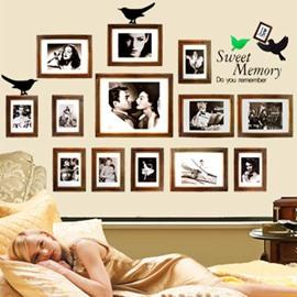 Golden Photo Frames 13-Piece PVC Waterproof Wall Stickers