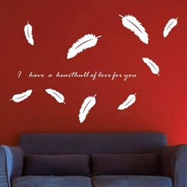 New Arrival Beautiful Feathers and Letters Print Wall Stickers