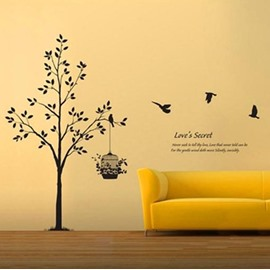 Love's Secret Big Tree and Flying Birds Wall Stickers