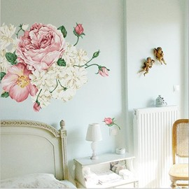 Fancy Blooming Flowers Pattern Removable Wall Stickers