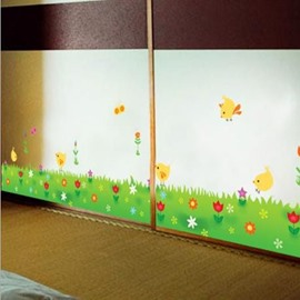 New Arrival Chicks on Grassland and Fancy Flowers Wall Stickers