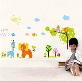 Elephant Giraffe and Trees PVC Waterproof and Eco-friendly Wall Stickers