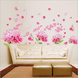 Fancy Pink Flower Pattern Decorative Wall Stickers