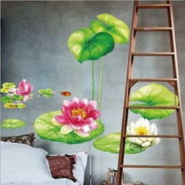 Fantastic and Fancy Lotus Pattern Decorative Wall Stickers