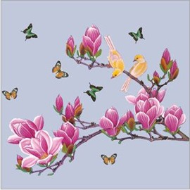 Fresh Birds and Butterflies on Magnolia Chinese Style Home Decoration Wall Stickers