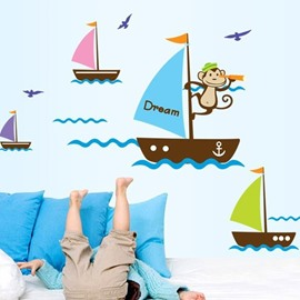 Monkey in Yacht Sailing in Sea PVC Waterproof and Eco-friendly Wall Stickers