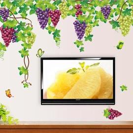Simple Style Fresh Purple Grape and Photo Frame Pattern Wall Sticker