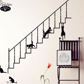 Lovely Black Cat and Ladder Wall Stickers
