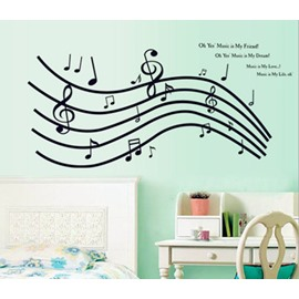 Wonderful Simple Style Music Note and Letters Pattern Wall Stickers