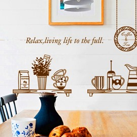 Decorative Kettle and Teacup Relax Life Pattern Wall Stickers