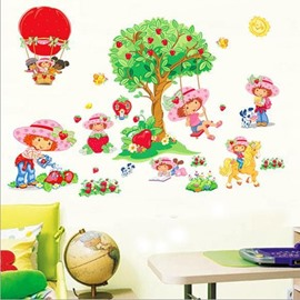 New Arrival Lovely Girl on Swing and Fresh Strawberry Wall Stickers