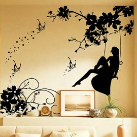 Elegant Girl Playing on a Swing on Right Side Pattern Wall Stickers