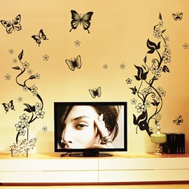 Beautiful Black Flowers and Butterflies Pattern Wall Stickers