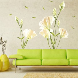 White Lily Sofa/TV Background Waterproof Wall Stickers