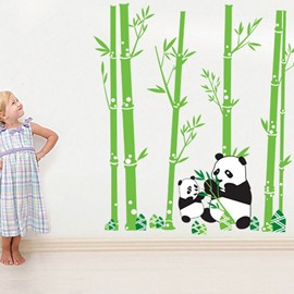 Lovely Panda and Bamboo Forest Pattern Green Wall Stickers