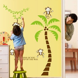 Lovely Cute Monkey and Coconut Tree Pattern Wall Stickers