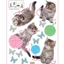 Cats Butterflies and Woolen Balls PVC Kids-room Wall Stickers