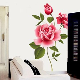 Pretty Simple Style Romantic Rose Pattern Wall Sticker