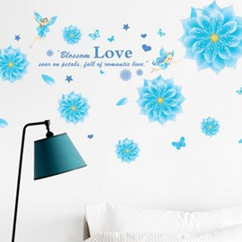 Wonderful Fantasy Flowers Love Letter and Butterflies Print Wall Stickers